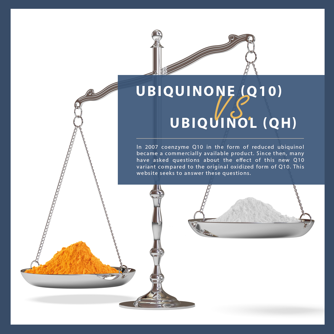 Scale weighing two forms of CoQ10 as ubiquinone and ubiquinol